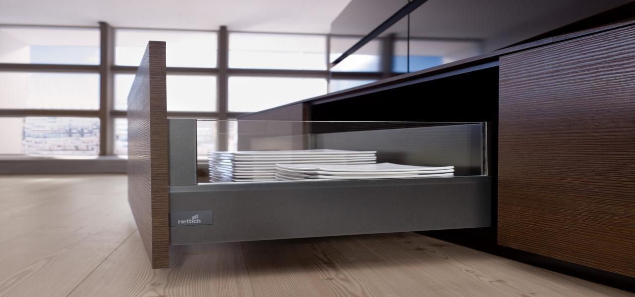 system szuflad marki Hettich, nowoczesne szafki kuchenne
